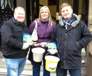 Members of the Dick Whittington cast collecting for The Sheffield Cat Shelter